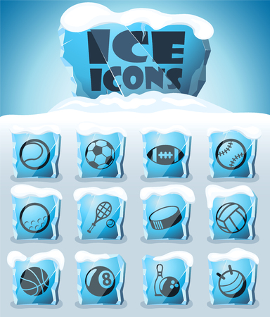 sport balls vector icons frozen in transparent blocks of ice