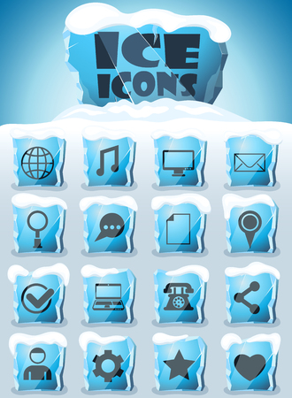 social media vector icons frozen in transparent blocks of ice Banque d'images - 123617997