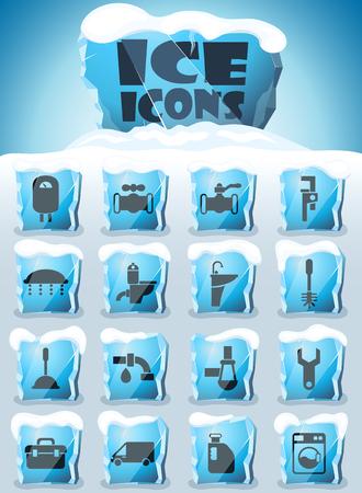 plumbing service vector icons frozen in transparent blocks of ice