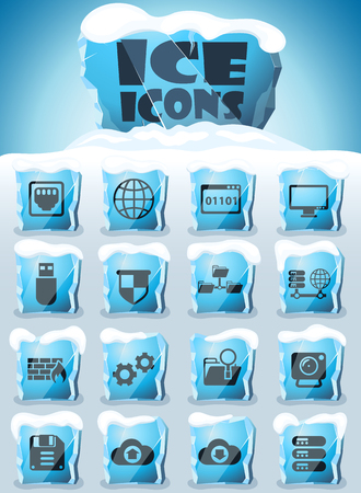 hosting provider vector icons frozen in transparent blocks of ice