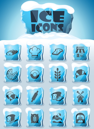 bakery vector icons frozen in transparent blocks of ice