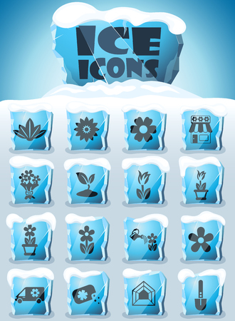 flowers vector icons frozen in transparent blocks of ice