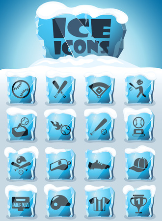 baseball vector icons frozen in transparent blocks of ice