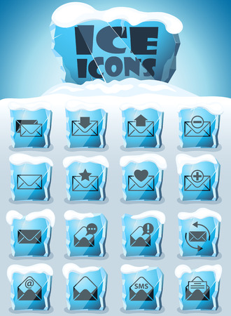 envelope vector icons frozen in transparent blocks of ice Banque d'images - 123618184