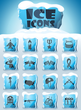 veterans day vector icons frozen in transparent blocks of ice