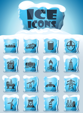industry vector icons frozen in transparent blocks of ice Illustration