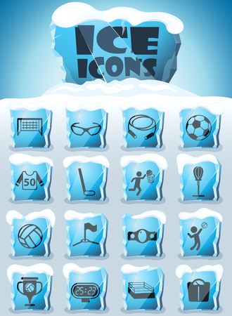sport vector icons frozen in transparent blocks of ice Ilustração
