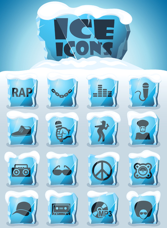 rap vector icons frozen in transparent blocks of ice Standard-Bild - 123618638