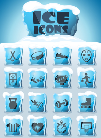 sport vector icons frozen in transparent blocks of ice Banque d'images - 123618645