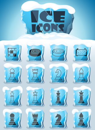 chess vector icons frozen in transparent blocks of ice Vettoriali