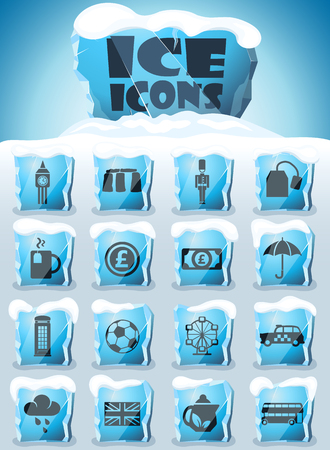 england vector icons frozen in transparent blocks of ice
