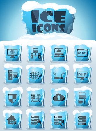 server vector icons frozen in transparent blocks of ice