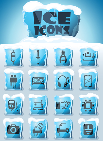 electronics repair vector icons frozen in transparent blocks of ice