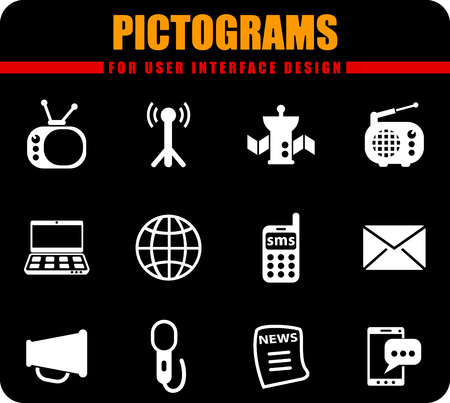 Media professional vector pictograms for user interface design