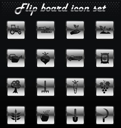 agricultural vector flip mechanical icons for user interface design