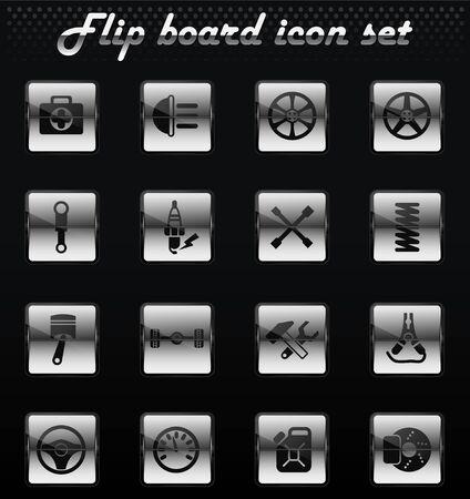 car shop vector flip mechanical icons for user interface design