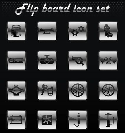 car shop vector flip mechanical icons for user interface design Stock Vector - 126794038