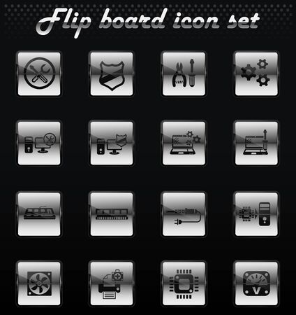 computer repair vector flip mechanical icons for user interface design Illustration