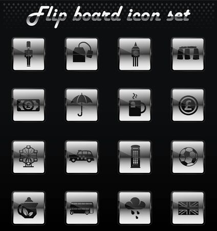 england vector flip mechanical icons for user interface design