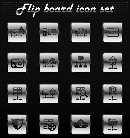 hosting provider vector flip mechanical icons for user interface design