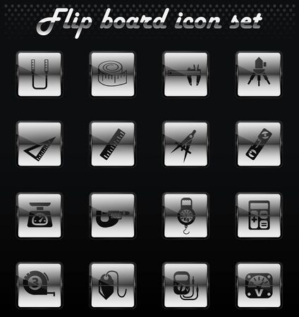 measuring tools vector flip mechanical icons for user interface design
