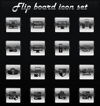 server vector flip mechanical icons for user interface design