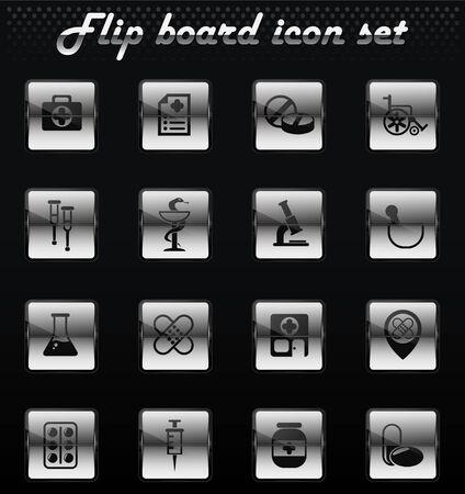 pharmacy vector flip mechanical icons for user interface design