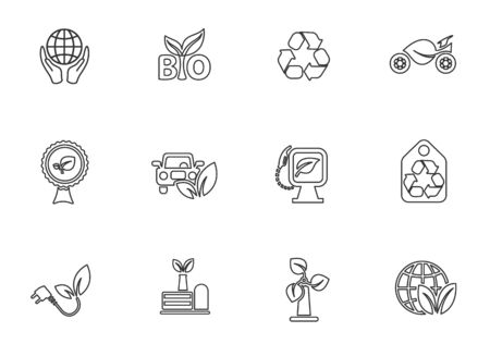 Ecology line icon set for user interface design