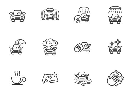 Car wash service line icons for user interface design