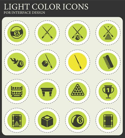 billiard vector icons for web and user interface design Illustration