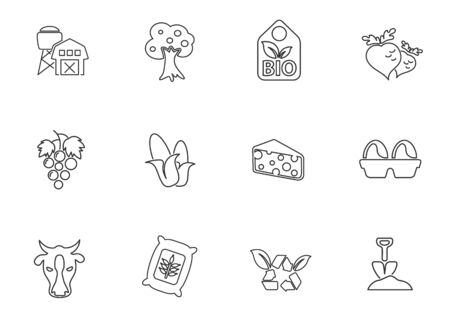 Vector agricultural line icons set for user interface design Illustration