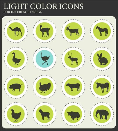 farm animals web icons for user interface design