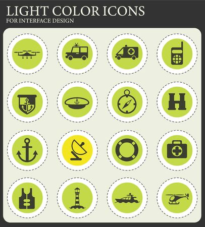 coastguard vector icons for user interface design Illustration