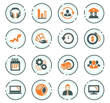 Business management and human resources color vector icons for user interface design Ilustração