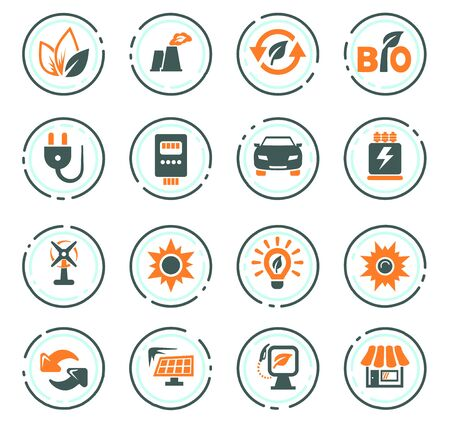 Alternative energy color vector icons for user interface design
