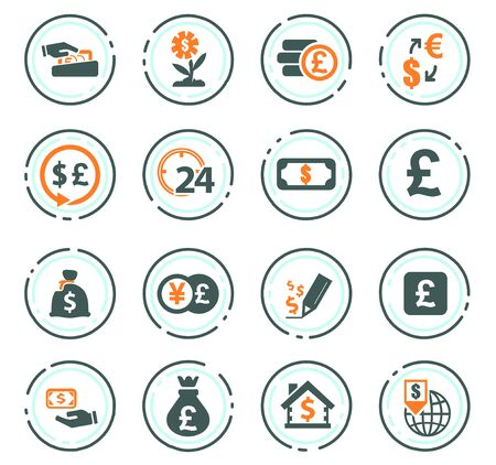 Currency exchange vector icons for user interface design Stock Illustratie