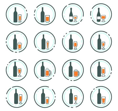 Glasses and cups symbol for web icons Stock Illustratie
