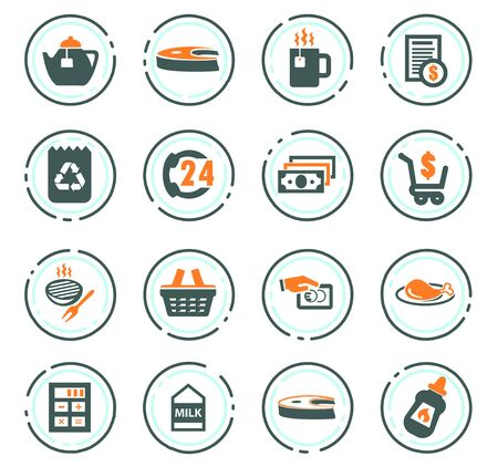 Grocery store vector icons for user interface design Illustration