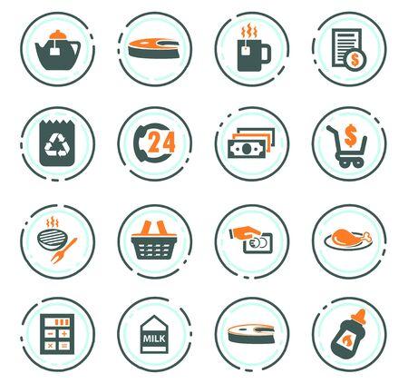 Lebensmittelgeschäft-Vektorsymbole für das Design der Benutzeroberfläche Vektorgrafik