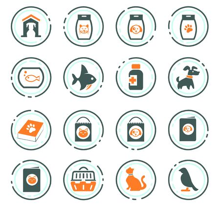 Goods for pets color vector icons for user interface design Stock Illustratie