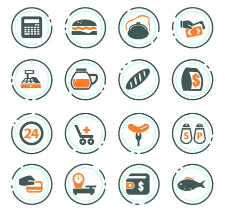 Grocery store vector icons for user interface design Stock Illustratie