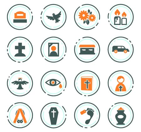 Funeral service color vector icons for user interface design