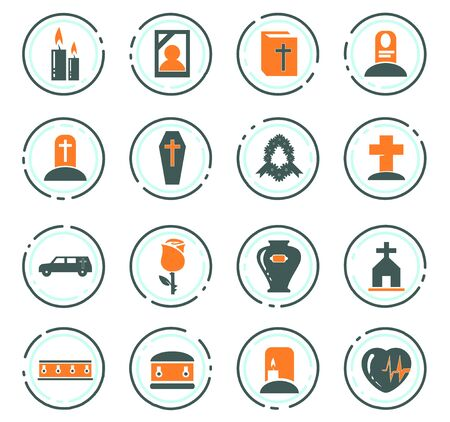 Funeral service color vector icons for user interface design Stockfoto - 128273725