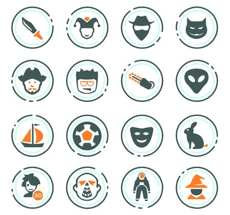 Set of movie genres color vector icons for user interface design Stock Illustratie