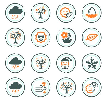 Seasons color vector icons for user interface design