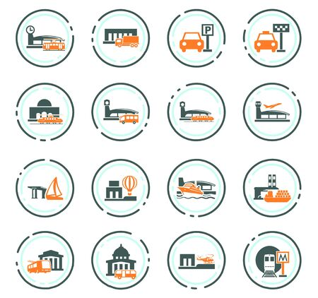 Stations of public transport color vector icons for user interface design