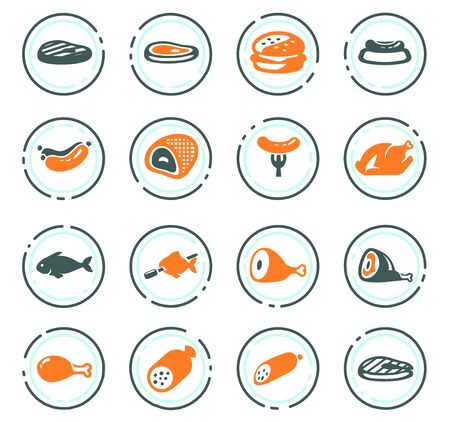 Meat and protein color vector icons for user interface design