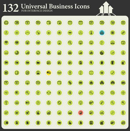 Universal business flat color icon set for interface design