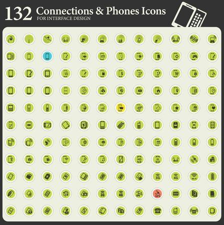 Mobile communications, phones and modern technologies round flat icons for interface design