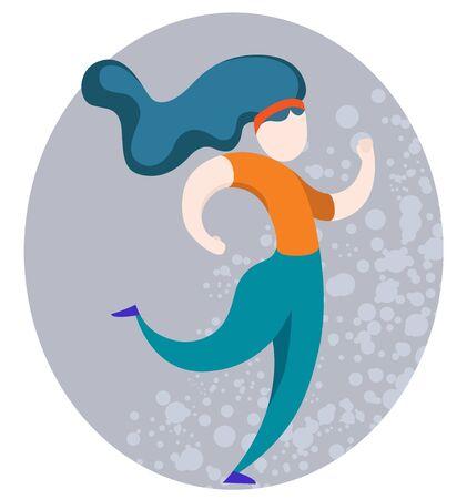 Running confident sporty girl. Cartoon Flat Vector Illustration